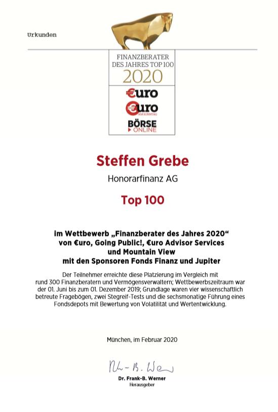 """Steffen Grebhe - Urkunde Top 100 """"Finanzberater des Jahres 2020"""""""